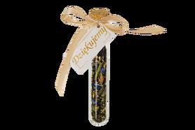 Personalisierte Gastgeschenke - Fläschchen mit Weißen Tee und Sommerblüten