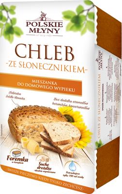 Chleb ze słonecznikiem - Mieszanka do wypieku chleba w foremce z drożdżami